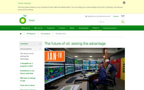 Screenshot of bp.com - The future of oil: seizing the advantage | Conversations | BP Magazine | BP - captured Jan. 20, 2018