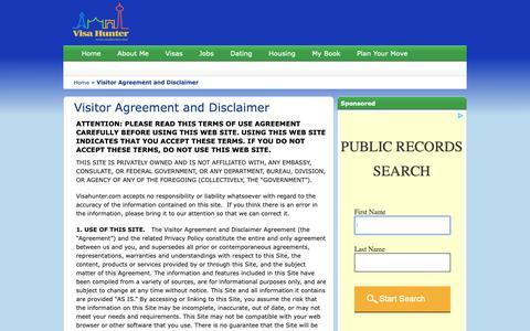 Screenshot of Terms Page visahunter.com - Visitor Agreement and Disclaimer | Visa Hunter - captured Oct. 1, 2018