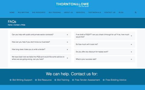 Screenshot of FAQ Page thorntonandlowe.com - Tender FAQs | Thornton & Lowe - captured Oct. 25, 2017