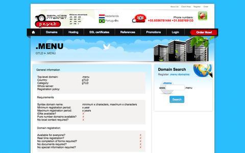 Screenshot of Menu Page peweb.com - New gTLD .menu Domain Registration - Register New gTLD .menu Domain Name - captured Oct. 1, 2014