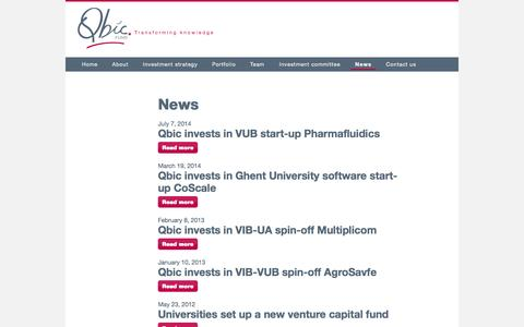 Screenshot of Press Page qbic.be - News | Qbic - captured Sept. 29, 2014