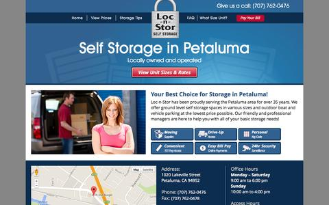 Screenshot of Maps & Directions Page selfstoragepetaluma.com - Self Storage in Petaluma, CA |  Loc-N-Stor - captured Oct. 1, 2014