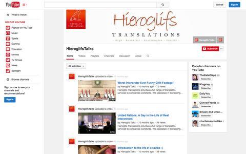 Screenshot of YouTube Page youtube.com - HieroglifsTalks  - YouTube - captured Oct. 22, 2014