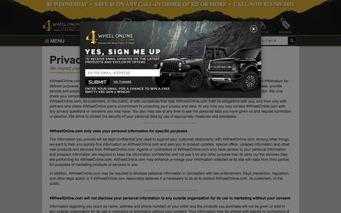 Screenshot of Privacy Page 4wheelonline.com - Privacy Policy | 4WheelOnline.com - captured Aug. 5, 2015