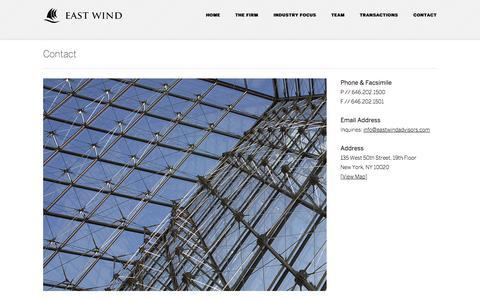 Screenshot of Contact Page eastwindadvisors.com - East Wind Advisors / Contact - captured Oct. 22, 2014