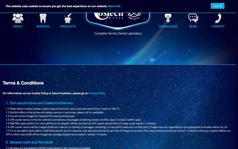 Screenshot of Terms Page costech.co.uk - Costech Elite Dental Laboratory - - captured Feb. 1, 2016