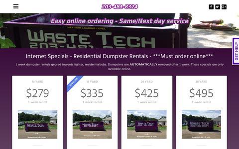 Screenshot of Pricing Page wastetechrefuse.com - PurpleDumpster.com - Dumpster Rental Pricing - Waste Tech - captured Oct. 10, 2018