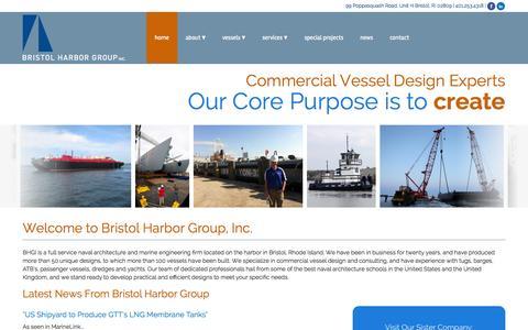 Screenshot of Home Page bristolharborgroup.com - Naval Architecture & Marine Engineering   Bristol Harbor Group - captured Oct. 5, 2014