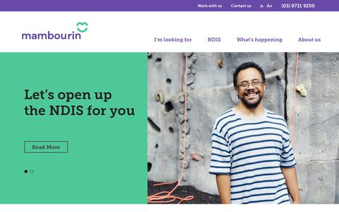 Screenshot of Home Page mambourin.org - Mambourin Disability Services | Mambourin Enterprises NDIS - captured Oct. 2, 2018