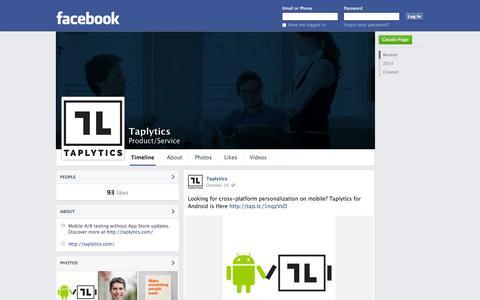 Screenshot of Facebook Page facebook.com - Taplytics   Facebook - captured Oct. 22, 2014