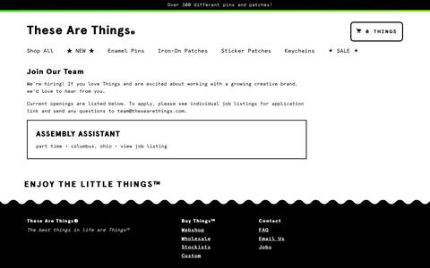 Screenshot of Jobs Page thesearethings.com - Join Our Team – These Are Things - captured Sept. 23, 2018