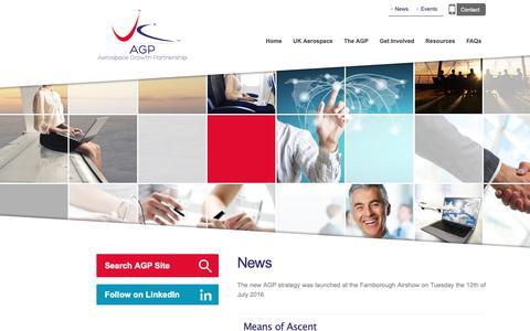 Screenshot of Press Page theagp.aero - News Archives - Aerospace Growth PartnershipAerospace Growth Partnership - captured Oct. 3, 2018