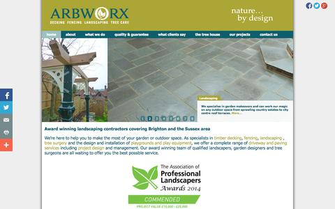 Screenshot of Home Page arbworx.com - Commercial & Domestic Landscaping, Fencing, Decking, Tree Care, Sussex » 	Arbworx - captured Oct. 4, 2014