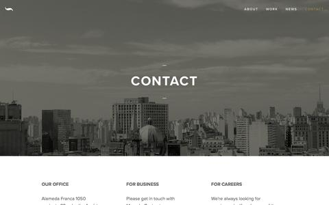 Screenshot of Contact Page senores.co - Contact — SEÑORES - captured Feb. 3, 2016