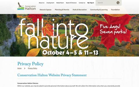 Screenshot of Privacy Page conservationhalton.ca - Privacy Policy — Conservation Halton - captured Sept. 30, 2014
