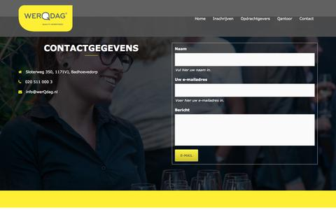 Screenshot of Contact Page werqdag.nl - Op zoek naar kwalitatief horeca personeel? WerQdag heeft ze! - captured Nov. 7, 2017