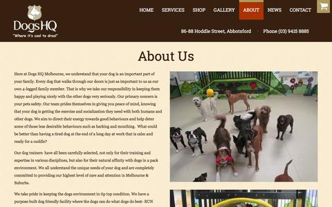 Screenshot of About Page dogshq.com.au - Dog Trainers Melbourne | Puppy Obedience Training | DogsHQ - captured March 4, 2016