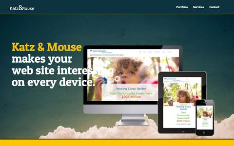Screenshot of Home Page katzandmouse.com - Katz & Mouse | Website design and development in San Francisco and Santa Barbara, CA - captured March 6, 2016