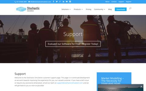 Screenshot of Support Page stochasticsimulation.com - Support | Stochastic Simulation - captured Aug. 17, 2016