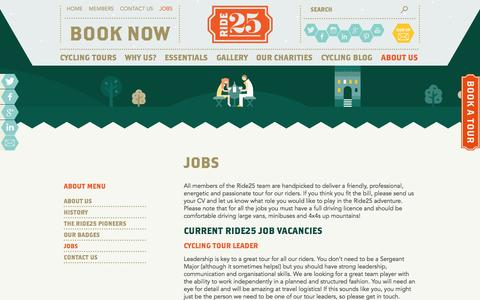 Screenshot of Jobs Page ride25.com - Cycling Holiday Tour Jobs - Careers - Ride25 - captured Sept. 24, 2014