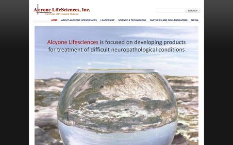 Screenshot of Home Page alcyonels.com - The Power of Precision in Medicine | Alcyone Lifesciences, Inc. - captured Sept. 12, 2014
