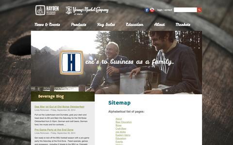 Screenshot of Site Map Page haydenbeverage.com - Site Map | Hayden Beverage - captured Sept. 29, 2014