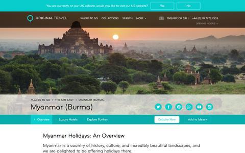 Luxury Holidays Myanmar | History, Culture & Beautiful Scenery