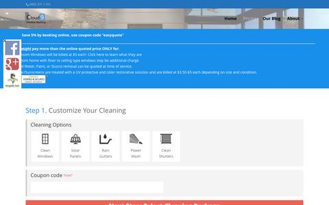 Screenshot of Pricing Page cloud9windows.com - Cloud 9 Window Washing - Window Cleaning Phoenix Arizona - captured July 14, 2016