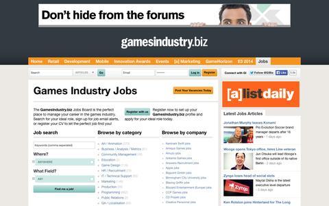 Screenshot of Jobs Page gamesindustry.biz - Jobs   GamesIndustry.biz - captured Sept. 18, 2014