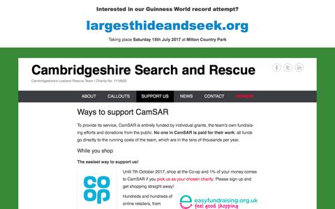 Screenshot of Support Page camsar.org - Ways to support CamSAR | Cambridgeshire Search and Rescue - captured July 13, 2017