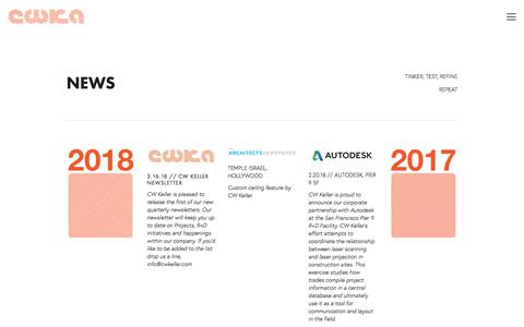 Screenshot of Press Page cwkeller.com - News — CWKeller - captured Sept. 26, 2018
