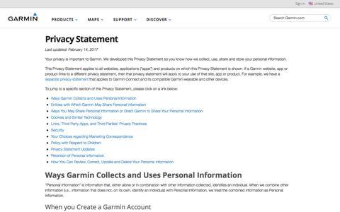 Privacy Statement   Garmin   United States