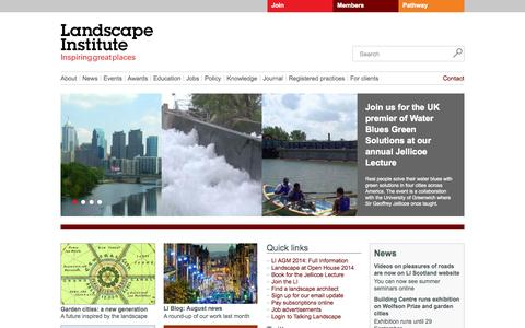 Screenshot of Home Page landscapeinstitute.org - Landscape Institute - captured Sept. 27, 2014