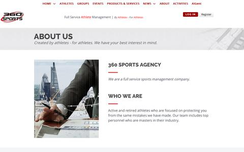 Screenshot of About Page 360sportsagency.com - ABOUT - captured Oct. 21, 2018