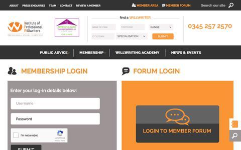 Screenshot of Login Page ipw.org.uk - Membership Login - captured Oct. 4, 2017