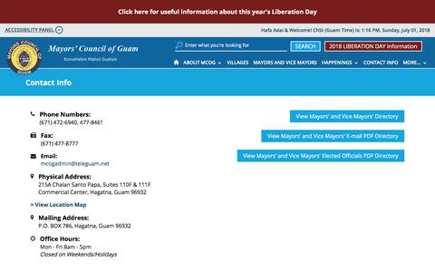 Screenshot of Contact Page FAQ Page mcoguam.org - Contact Info - MCOG |Mayors Council of Guam - captured July 1, 2018
