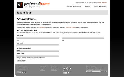 Screenshot of Login Page projectedframe.com - Online for Small Business  –   Projected Frame - captured Oct. 1, 2014