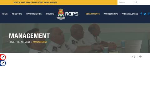 Screenshot of Team Page rcips.ky - Management - Royal Cayman Islands Police Service - captured Oct. 20, 2018