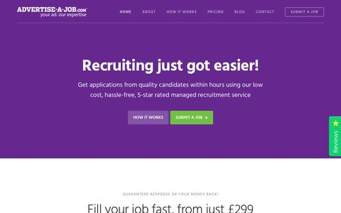 Screenshot of Home Page advertise-a-job.com - Advertise a Job - Advertise your job online from just £299 - captured May 29, 2017