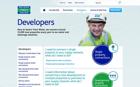 Screenshot of Developers Page stwater.co.uk - Developers : Severn Trent Water - captured Sept. 23, 2014