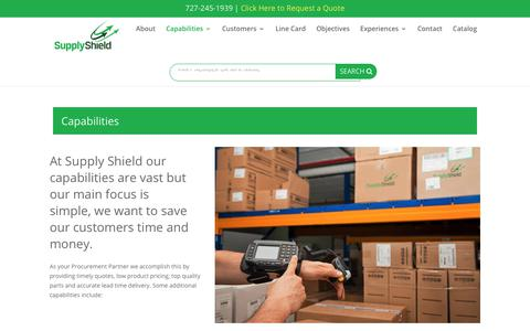 Screenshot of Services Page supplyshield.com - Capabilities - Supply Shield - captured Sept. 21, 2018