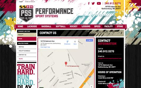 Screenshot of Hours Page performancesportsystems.com - Contact Us - captured Jan. 11, 2016