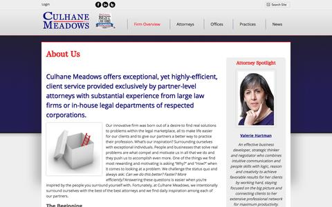 Screenshot of About Page culhanemeadows.com - About Us | Culhane Meadows PLLC - captured Oct. 3, 2014