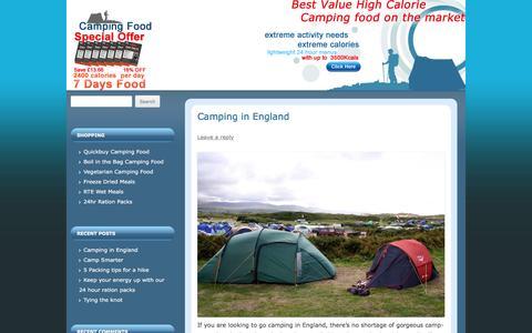 Screenshot of Blog camping-food.co.uk - High Calorie Food for Camping - captured May 21, 2016