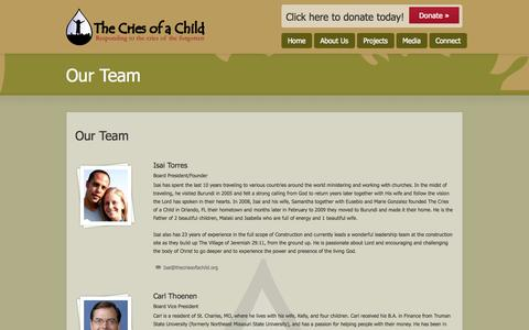 Screenshot of Team Page thecriesofachild.org - Our Team | The Cries of a Child - captured Oct. 26, 2014