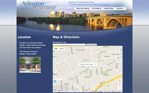 Screenshot of Maps & Directions Page arlingtonlawgroup.com - Arlington Law Group | Directions to the Firm - captured Feb. 15, 2016