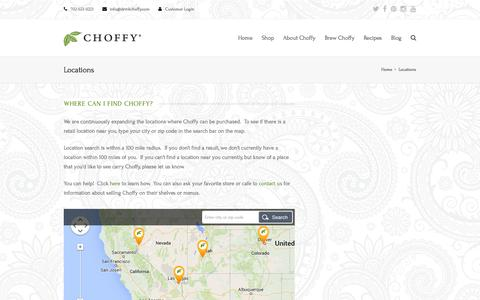Screenshot of Locations Page choffy.com - Locations | Choffy - captured Sept. 19, 2014