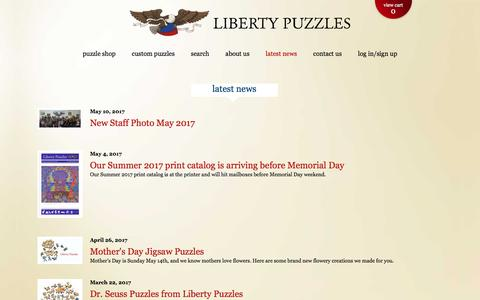 Screenshot of Press Page libertypuzzles.com - News - Liberty Puzzles - Wooden Jigsaw Puzzles - Made in the USA - captured May 18, 2017