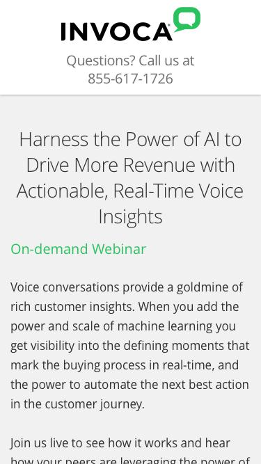 Invoca On-demand Webinar | Harness the Power of AI to Drive More Revenue with Actionable, Real-Time Voice Insights