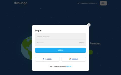Screenshot of Login Page duolingo.com - Duolingo - captured May 25, 2019